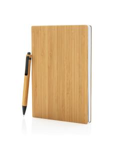 Anteckningsblock med penna, A5, bambu